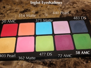 Inglot Eye Shadows w/ Labels